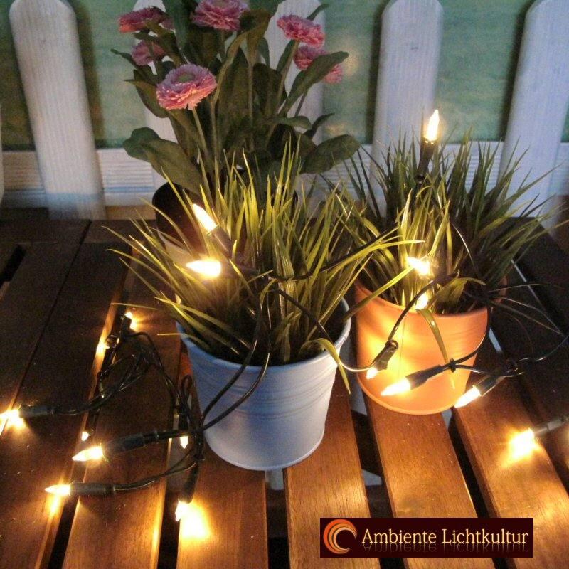 Mini LED Lichterkette 50 warmweiss grüne Ringleitung