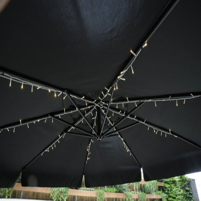 led pavillion sonnenschirm beleuchtung lichterkette 120 warmweisse led 8 str nge je 1 meter l nge. Black Bedroom Furniture Sets. Home Design Ideas