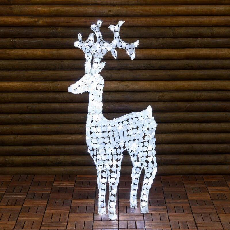 Weihnachtsbeleuchtung Rentier Beweglich.Led Rentier 3 D 120 Cm Weisse Acryl Crystal Pailletten 250 Weisse Led Weihnachtsfigur Für Aussen