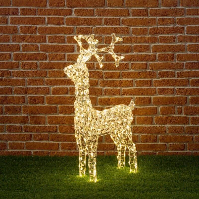 Weihnachtsbeleuchtung Rentier Beweglich.Led Rentier 3 D 90 Cm Mit Klaren Pailletten