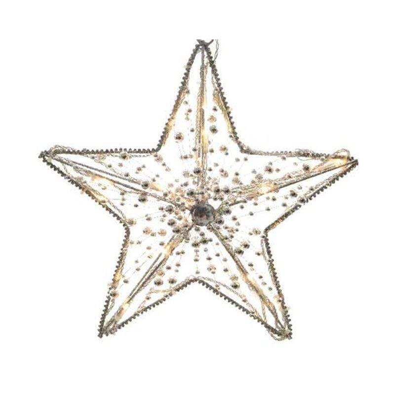 Stern Weihnachten.Led Weihnachten Stern 30 Cm 20 Warmweisse Led Silberne Perlen