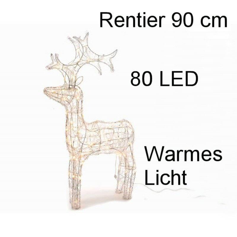 Led Weihnachten.Rentier Acryl 90 Cm 80 Led Warmes Licht Aussen Weihnachten Dekoration